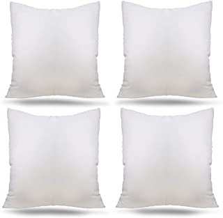 "Ogrmar 4 Packs 18""x18"" Premium White Throw Pillow Insert Hypoallergenic High-Resilient PP Cotton Stuffer Pillow Insert Square Form Sham Stuffer Decorative Pillow, Cushion (Set of 4)"