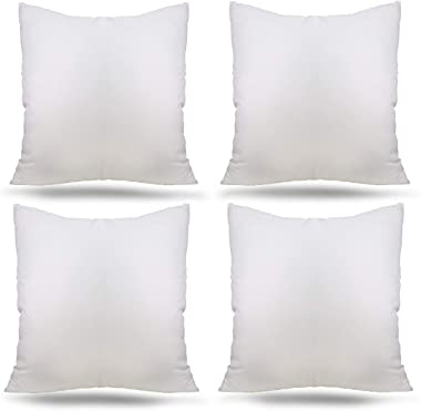 "Ogrmar 4 Packs 18""x18"" Premium White Throw Pillow Insert Hypoallergenic High-Resilient PP Cotton Stuffer Pillow Insert Square Form Sham Stuffer Decorative Pillow, Cushion (Set of 4)"