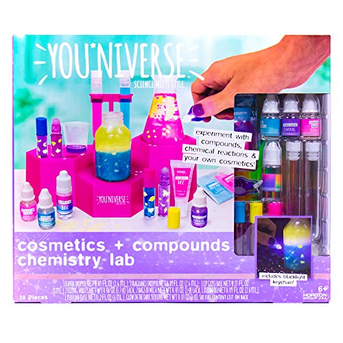Youniverse Cosmetics & Compounds Chemistry Lab by Horizon Group USA, Girl STEM DIY Lip Balm Perfume Making Science Kit Assorted/Pink/Blue/Purple/Yellow