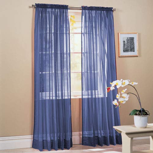 Comfy Deal 2 Pieces Beautiful Elegance Fully Stitched Window Sheer Voile Curtain Panel (Navy Blue)