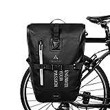 HIKENTURE Bolsa de bicicleta para portaequipajes, bolsa portaequipajes para bicicleta de 27 l, resistente al agua, incluye correa para el hombro, bolsa para rueda trasera color negro 27L