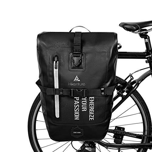 HIKENTURE Fahrradtasche für Gepäckträger, Gepäckträgertasche Fahrrad 27L, Fahrradtaschen Wasserdicht inkl. Schultergurt, Radtasche Hinterradtasche Umhängetasche für Fahrrad Zubehör -Schwarz27L