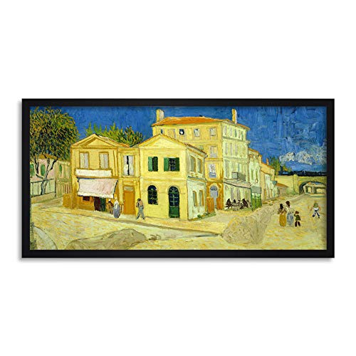 Vincent Van Gogh The Yellow House Long Framed Art Print Wall Poster 25x12 Inch Amarillo Casa Pared Póster