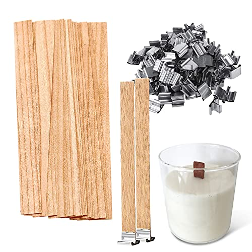 100 PCS Wooden Candle Wicks - Naturally Soy Coconut Wax Candles Crackling Wick &...