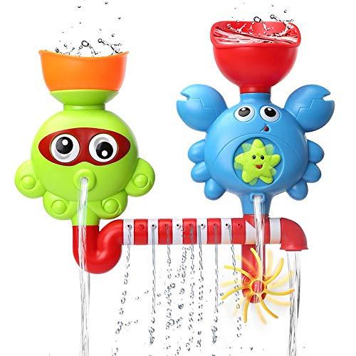 Msddc Jouets for Le Bain Baignoire Jouets for 1 2 3 Ans Enfants Tout-Petits Bath Wall Toy Cascade Fill Spin and Flow Non Toxiques Anniversaire Idées Cadeaux