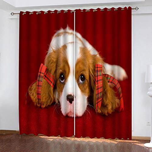 ZXPAG Cortina Aislante Para Dormitorio 3D Cortina Opaca Cortinas De Salón Y Dormitorio Moderno Aislantes Térmicas Con Ojales 2 Piezas - 183X214Cm - Animal Perro Fondo Rojo