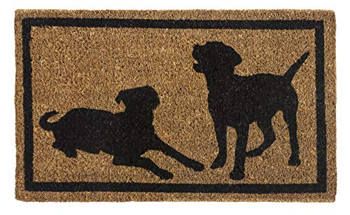 Entryways Dog Silhouettes , Hand-Stenciled, All-Natural Coconut Fiber Coir Doormat 18