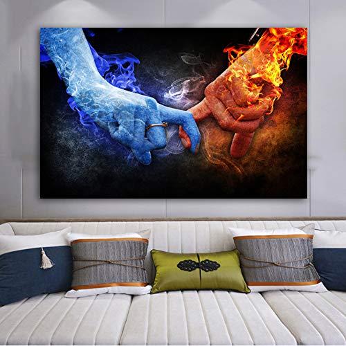 TYLPK EIS und Feuer halten Hände Leinwand drucken Wandbild Wohnzimmer Bild Poster Home Decoration Gemälde A4 60x80cm