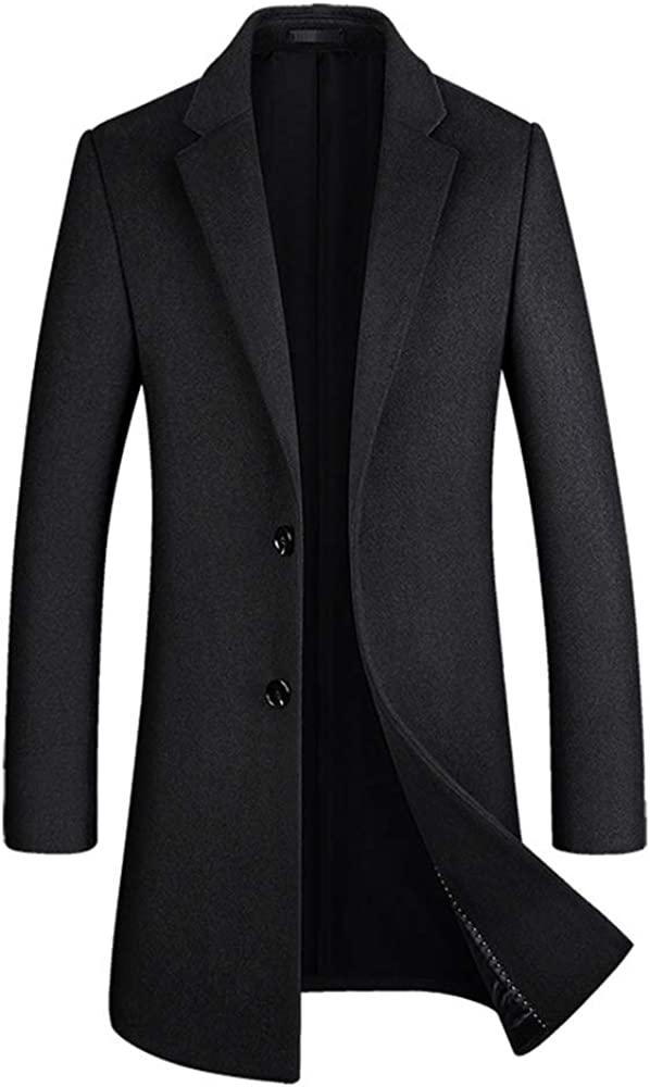 MMCICI Mens Wool Blend Long Pea Coat 2 Button Single Breasted Warm Casual Slim Fit Jackets Overcoats