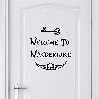 Alice in Wonderland Wall Sticker Art Decor Welcome to Alice in Wonderland Wall Decals Kids Room Wall Door Decoration Entrance