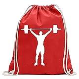 KIWISTAR - Gewichtheber Gewichtheben Turnbeutel Fun Rucksack Sport Beutel Gymsack Baumwolle mit...