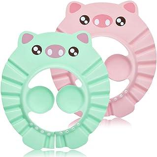 Kitchen-dream Gorro de Ducha Bebé, 2pcs Ajustable Impermeable Champú Caps Shield, Protección para niños Sombrero de orejera para el cuidado del bebé para niños pequeños (Verde claro, Rosa)
