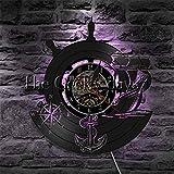 ZRZDGL'ART Barco de Ancla Reloj de Pared con Disco de Vinilo Reloj de Pared de Marineros Brújula Naval Decoración del hogar Arte de Pared Regalo para viajeros Capitán con luz Nocturna LED