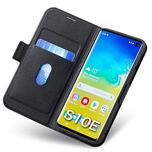 Aunote Samsung Galaxy S10e Hülle, Galaxy S10e Schutzhülle mit Kartenfach, Handyhülle Tasche, Leder Etui Folio Flip Cover Hülle, PU TPU Klapphülle Komplettschutz Samsung S10e 5.8 Zoll Phone. Schwarz