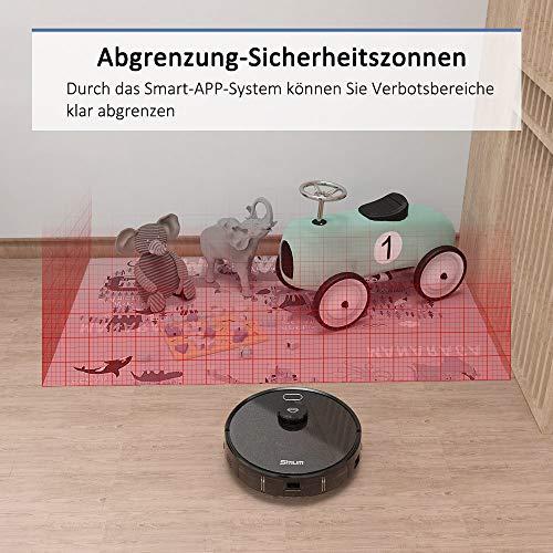 Simum Saugroboter mit Laser Navigation Verbotenen Bereich erkennung 2700PA Saugleistung Staubsauger Roboter mit Kartenspeicherung WLAN Roboterstaubsauger Optimiert für Tierhaare+Allergene - 4