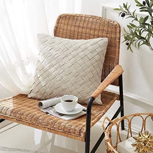 DAPU Handgemacht Kissenbezug aus reinem Leinen 45 x 45 cm Boho Decorative Kissenbezüge für Sofa Bett Werkzeuge Wohnzimmer Büro