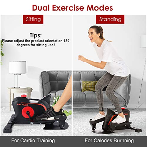 ANCHEER Indoor Mini Elliptical Machine Trainer, Various Adjustable Resistance Compact Strider with Built-in Display Monitor & Magnetic Smooth Quiet Driven for Home Office Cardio Training (Dull Black)