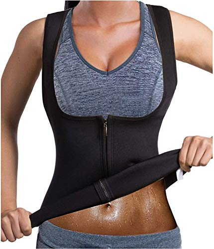 WIPFIT Women Waist Trainer Vest Slim Corset Neoprene Sauna Tank Top Zipper Weight Loss Body Shaper Shirt Black L