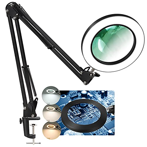 LANCOSC Magnifying Glass with Light and Stand, 5 Inches 5X Real Glass Lens, 3 Color Modes Stepless Dimmable LED Desk Lamp, Adjustable Arm Lighted Magnifier Light for Reading Repair Crafts Close Work
