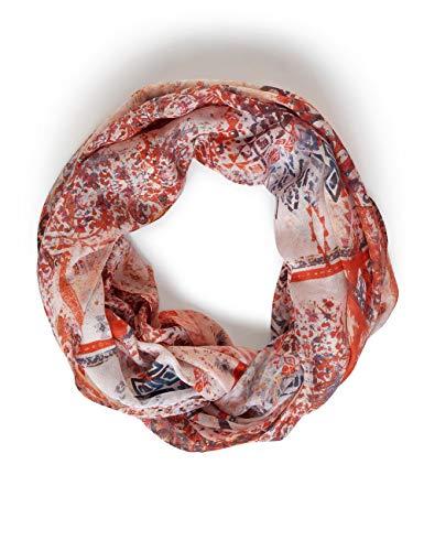CECIL Damen 571280 Loop im Ethno-Print Mode-Schal, light alabaster white, One Size