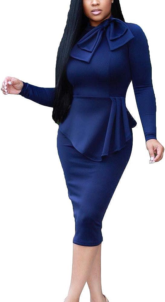 BeneGreat Women's Long Sleeve Peplum Waist Tie Neck Bodycon Cocktail Party Business Work Dress