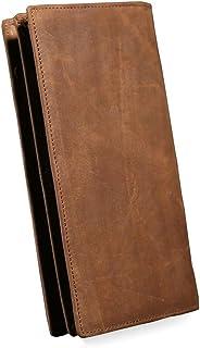 حقيبة نقود جلدية طويلة للرجال من فاشون ذات طبقات كلاسيكية من الجلد حقيبة يد متعددة للبطاقات من جلد الحصان المجنون (اللون: ...