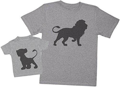 Zarlivia Clothing Lion and Cub - Regalo para Padres y bebés en un Camiseta para bebés y una Camiseta de Hombre a Juego - Gris - Large & 2-3 años