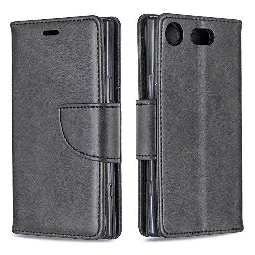 GIMTON Hülle für Sony Xperia XZ1 Compact, Kratzfestes PU Leder mit Magnetisch Verschluss & Kartenfach für Sony Xperia XZ1 Compact, Hochwertige Brieftasche Tasche, Schwarz