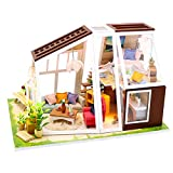 ROOMLIFE DIY Dollhouse Kit Model 1/24 Scale Adults Miniature Aurora Room with LED Light&Dust Proof Sweet Birthday, for Wife,Girls Manual Educational Craft Kits Room Table Decors