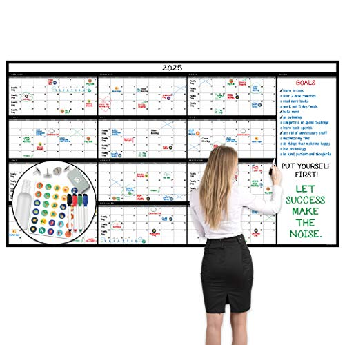 """Large Dry Erase Wall Calendar - 38"""" x 68"""" - Undated Blank 2021 Reusable Yearly Calendar - Giant Whiteboard Year Poster - Laminated Office Jumbo 12 Month Calendar (Black)"""