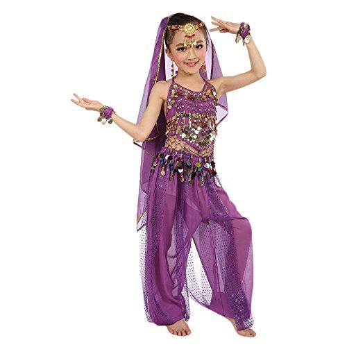 Harpily Vestiti di Ballo Bambina Ragazze Danza del Ventre Danza Abito Vestiti da Ventre Ragazza da Ballo del Egypt Dance 2pcs Top Backless + Pantaloni con Paillettes (S, Viola)