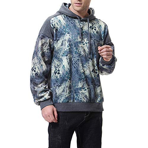 UJUNAOR Männer Hoodie Langarm Sport Pullover Top Gedruckt Mit Kapuze Kordelzug Tasche Frühling Herbst Bluse(Dunkelgrau,CN L)