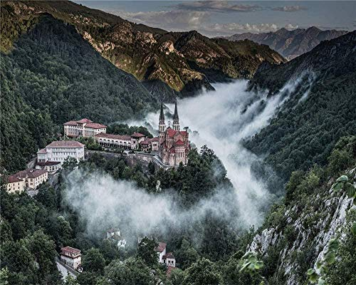 RHUARompecabezas de 1000 piezas Castillo de Asturias Montaña para niños y adultos Rompecabezas de ensamblaje personalizado de madera Juego divertido