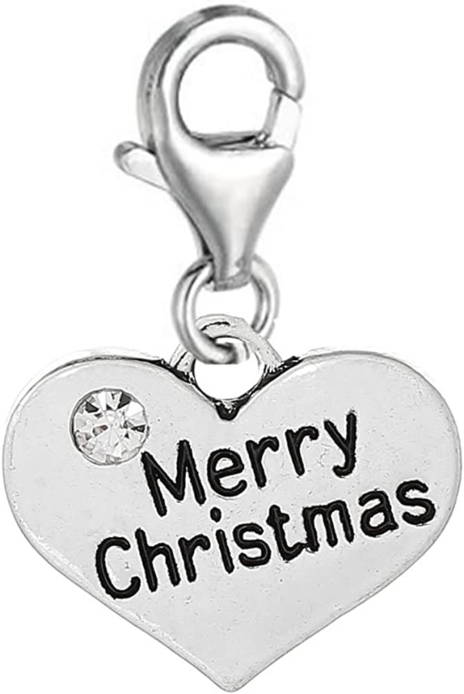Merry Christmas Super sale Heart Max 79% OFF Clip on for w Jewelry Lobst European Charm