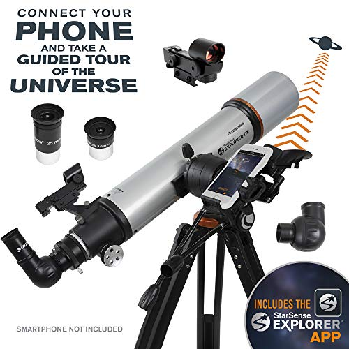 Celestron – StarSense Explorer DX 102AZ Smartphone App-Enabled Telescope – Works with StarSense App to Help You Find Stars, Planets & More – 102mm Refractor – iPhone/Android Compatible