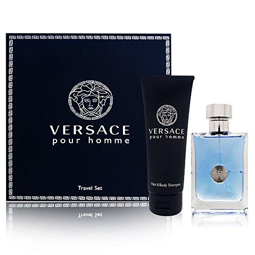 Versace Pour Homme para hombres 2 piezas Set incluye: 3.4 oz Eau de Toilette Spray + 3.4 oz Cabello y Champú Corporal