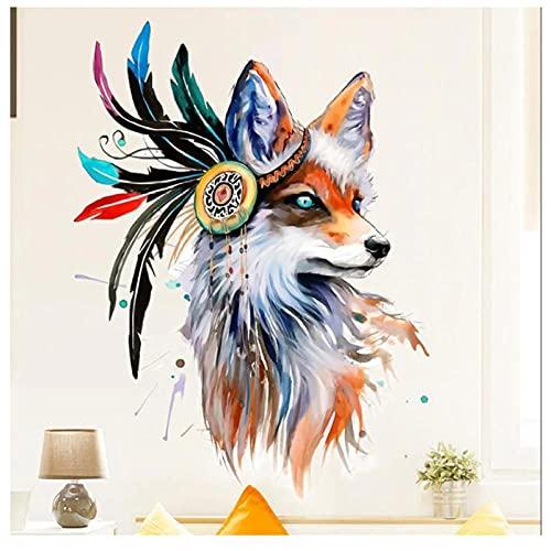 KBIASD Etiqueta de la pared creativa personalidad lobo de color pegatinas autoadhesivas decoración del hogar del dormitorio decoración de la pared del hogar decoración de la habitación 85x75cm