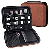 Wellgain USB Flash Drive Case, Hard Drive Case EVA Waterproof Shockproof Bag/Electronic Cable Accessories Organizer Brown