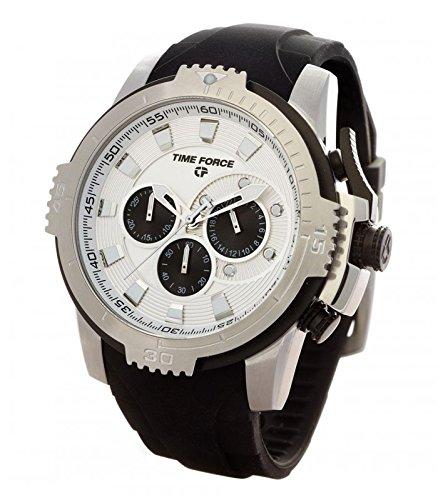TIME FORCE Reloj Cronógrafo para Hombre de Cuarzo con Correa en Caucho TFA5003M02