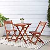Vifah V1381 Outdoor Wood Folding Bistro Set with Square Table & Two Chairs