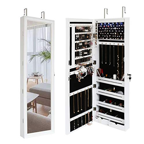 Grafzeal 6 LEDs Jewelry Cabinet Lockable Makeup Jewelry Armoire with Mirror, Wall Mounted or Door Hanging with Spacious Organizer Storage 47.2' H, 2 Drawers, White JC120W