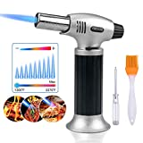 Culinary Blow Torch, Tintec Chef Cooking Torch Lighter, Butane Refillable, Flame Adjustable (MAX 2500°F) with Safety Lock for Cooking, BBQ, Baking, Brulee, Creme, DIY Soldering & more (Aluminum alloy)