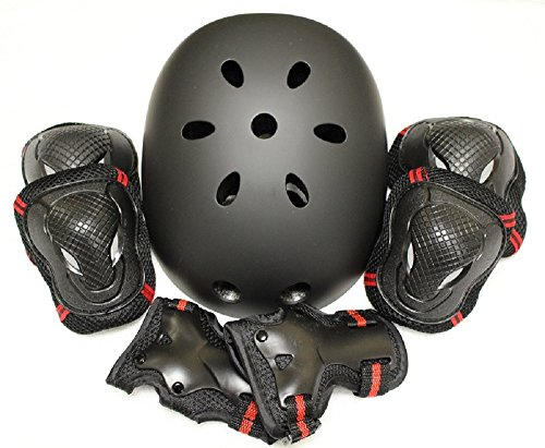 edunamay ヘルメット プロテクター 3点(肘・膝・手首)セット スケボー (赤, L)