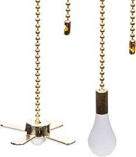 Ceiling Fan Pull Chains 13.6 Inches Fan Pulls Set with Connector 3mm Diameter Beaded Ball Fan Pull Chain(Brass)