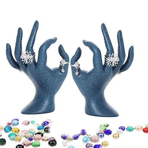 MMPY Pantalla de joyería de 2 unids, estallido de resina, soporte de anillo de gesto, organizador OK Forma Joyería, Anillo de expositor Pulsera Collar Colgante Holder Holder para Joyería Display Black