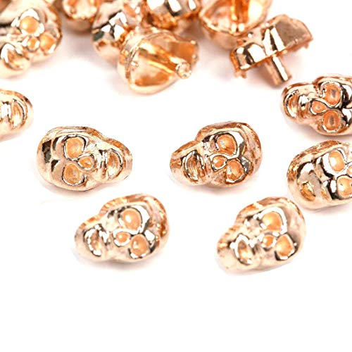 RUBYCA 30 Sets Gold Color Skull Rapid Rivets Spike and Studs Metal Spots Double Cap for DIY Leather-craft by RUBYCA