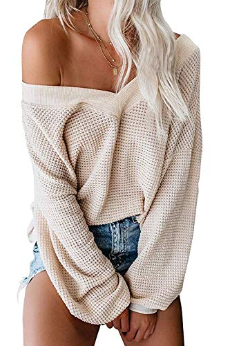 ReachMe Women's Oversized Off Shoulder Pullover Tops Long Sleeve Loose Fit Waffle Knit Tops(Beige,M)