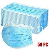 Cxypeng 50 Stück Einweg Maske Gesichtsmaske Vlies Einwegmaske Mundschutz Staubschutz mit Ohrschlaufen,3-lagige atmungsaktive Körbchenmaske
