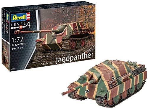 Revell 03327 Jagdpanther Sd.Kfz.173, Panzermodellbausatz 1:72, 13 cm originalgetreuer Modellbausatz für Fortgeschrittene, unlackiert