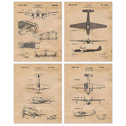 Vintage Airplane Patent Poster Prints, Set of 4 (8x10) Unframed Photos, Wall Art Decor Gifts Under 20 for Home, Office, Studio, Garage, Man Cave, College Student, Teacher, Pilot, Aviation Fan